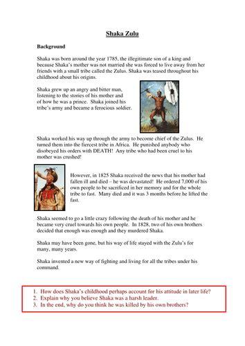 shaka zulu by allenk teaching resources tes