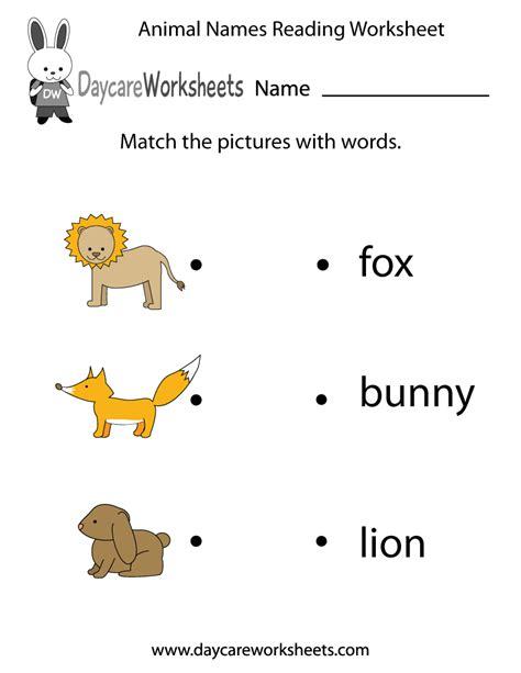 animal words reading worksheet  preschool
