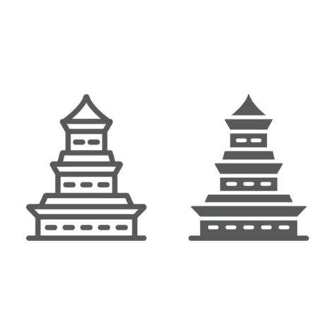 Templo Pagode E Silhueta Negra ícone Vetores e Ilustrações
