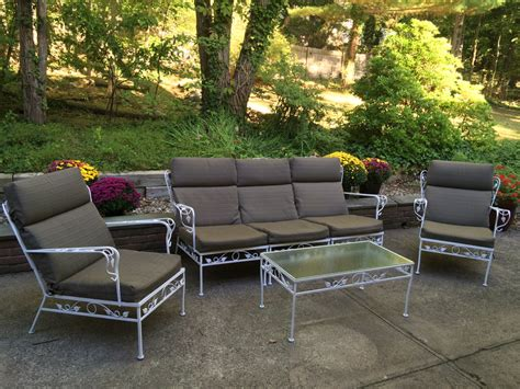 1950 s vintage wrought iron patio furniture with leaf