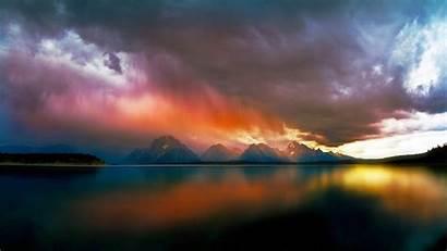 Storm Clouds Rain Colorful Mountain Landscape Nature