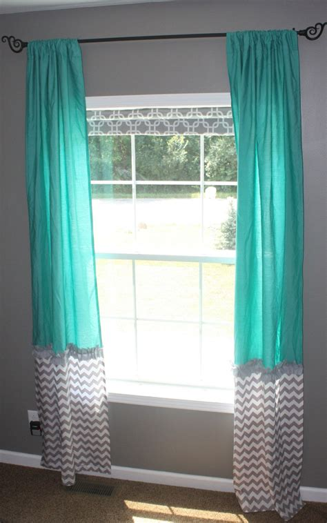 teal widow curtains  gray white