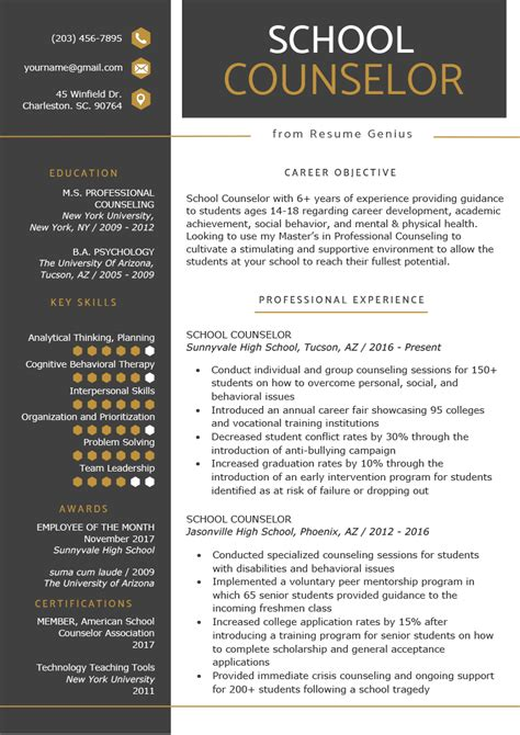 School Counselor Resume by School Counselor Resume Sle Tips Resume Genius