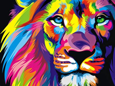 wallpaper lion artwork colorful hd creative graphics