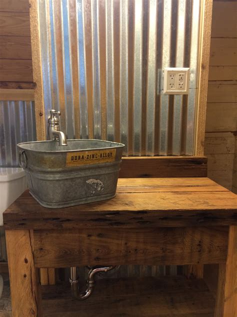 Corrugated Tin Walls With Cypress Vanity And Galvanized