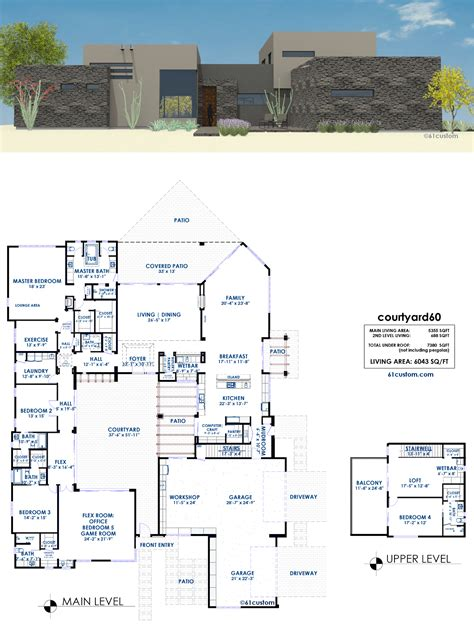 Moderne Haus Plan by Courtyard House Plans 61custom Contemporary Modern