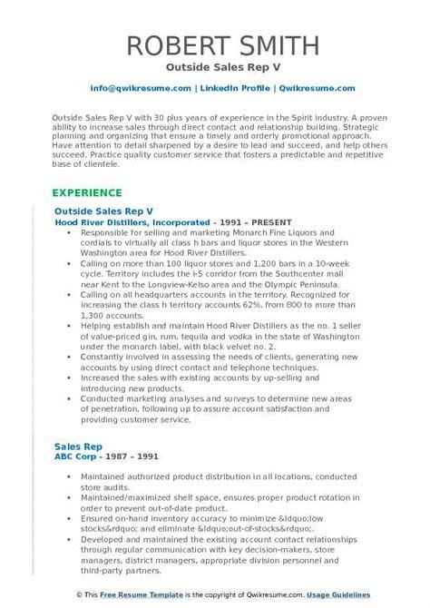 sales rep resume samples qwikresume