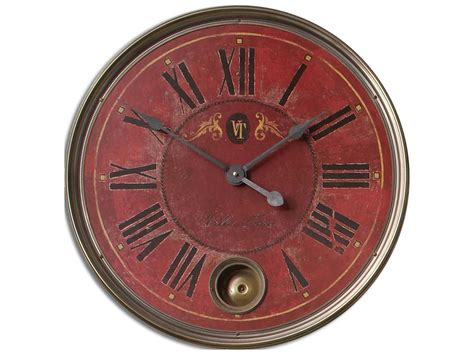 Uttermost Regency Villa Tesio 23 Inch Red Wall Clock