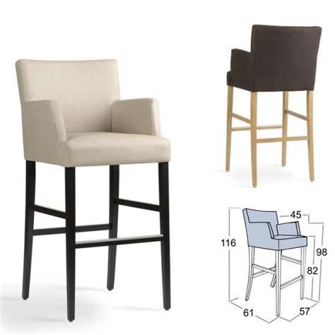 chaise de plan de travail tabouret de bar avec accoudoirs en bois et tissu shawn