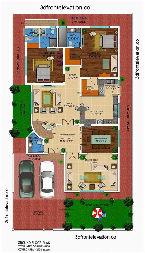 1 kanal house drawing floor plans layout with basement