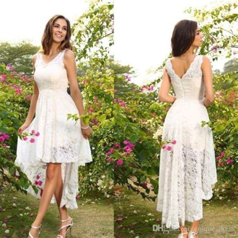 Mzyh178 Whiteivory Lace High Low Short Front Long Back A