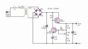 Free Circuit Diagrams  Simple Power Supply With 2 Transistors