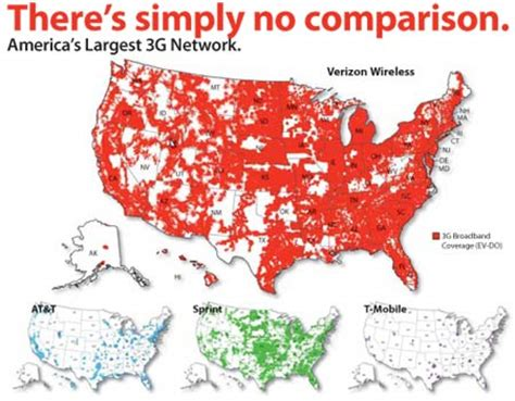 cell phone coverage map comparison verizon wireless compares 3g evdo coverage to other