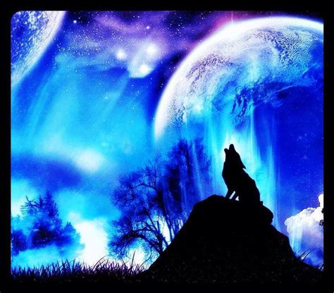 neon blue moon and the wolf | Wolf wallpaper, Beautiful