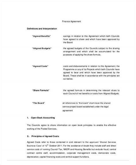 finance agreement templates word  docs