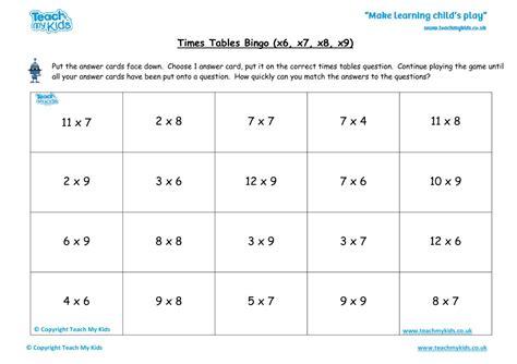 times tables bingo x6 x7 x8 x9 tmk education