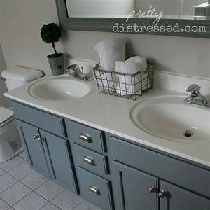 Bathroom oak vanity makeover with latex paint hometalk for Latex paint in bathroom