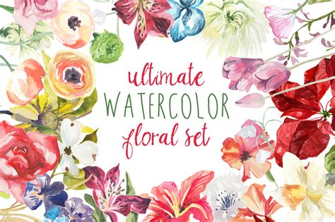 christmas twilight market flyer template free download3 ultimate watercolor floral set illustrations on creative