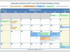 Calendário Setembro 2017 para imprimir Estados Unidos