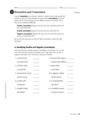 Connotation Vs Denotation Worksheet Worksheets Releaseboard Free Printable Worksheets And