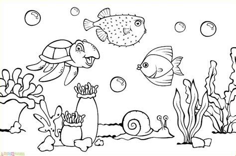mewarnai gambar pemandangan alam laut sketsa buku