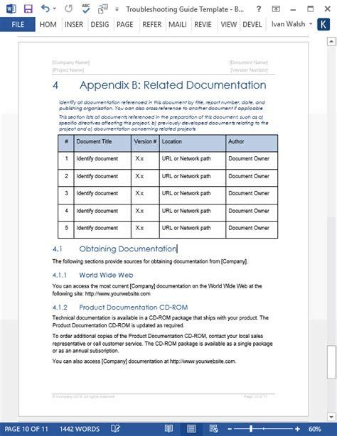 technical documentation template troubleshooting guide template technical writing tips
