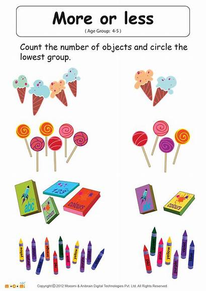 Less Worksheet Kindergarten Than Greater Worksheets Math