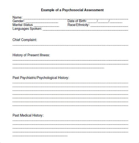 psychosocial assessment template 7 sle psychosocial assessments sle templates