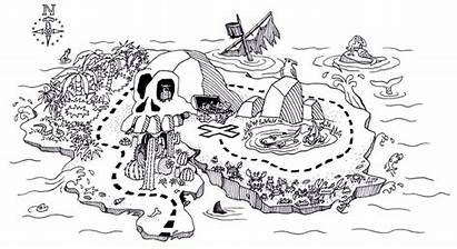 Treasure Map Coloring Pirates Pages Template Mapping