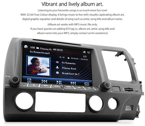 car dvd player  honda civic fd fd stereo usb mp
