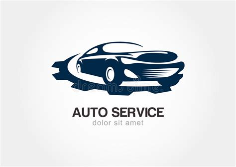 Illustration Of Abstract Sport Car With Gears Cogs. Vector