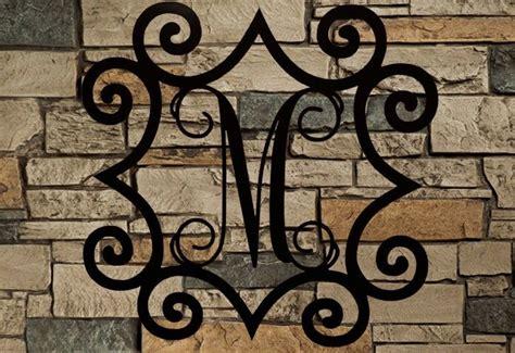 large single metal initial vine monogram  wrought iron inspired scroll border