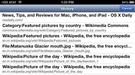 safari history iphone view browsing history on iphone ipod touch from safari