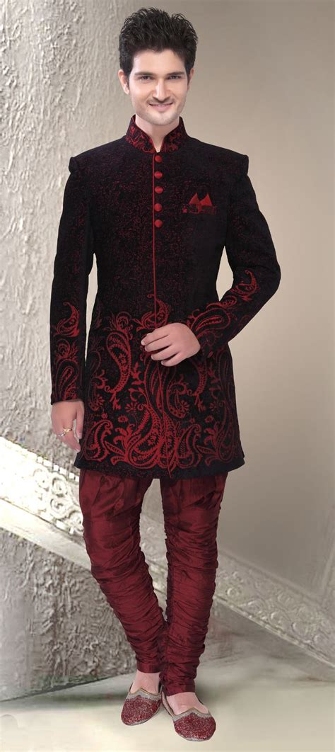 500811 Black and Grey Red and Maroon color family IndoWestern Dress. | Suits for men ...