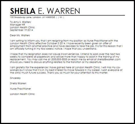 nurse practitioner resignation letter  letter