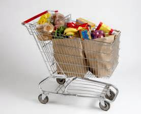 Shopping Cart Filled with Groceries