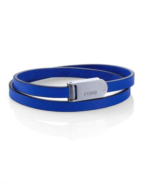 lyst fendi leather wrap bracelet  blue  men