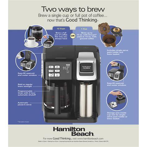 49976 coffee maker pdf manual download. Hamilton Beach FlexBrew® 2-Way Coffee Maker with 12-Cup Carafe & Pod Brewer, Black - 49976