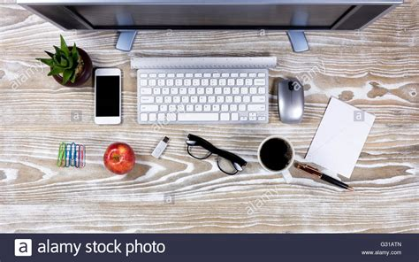 Office Desk Top View by Top View Office Desktop Setup On Rustic White Wood Stock