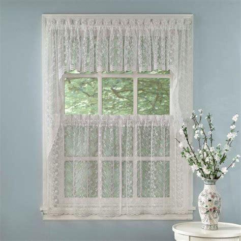 elegant white priscilla lace kitchen curtains tiers