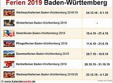 Ferien BadenWürttemberg 2019 Übersicht der Ferientermine