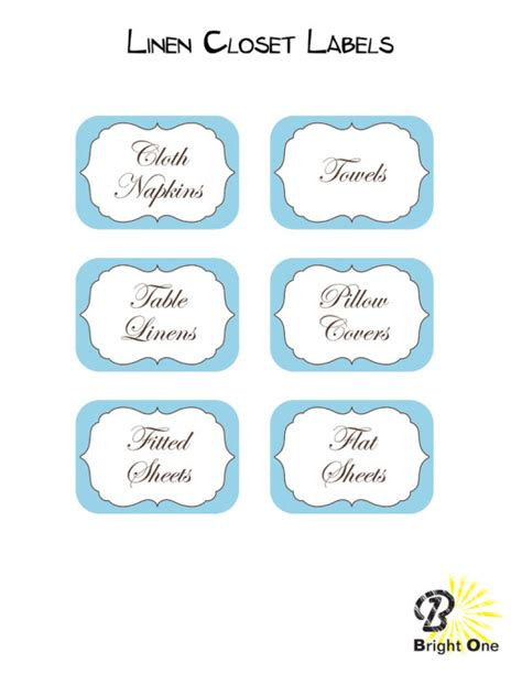 Bright One Llc  Linen Closet Labels