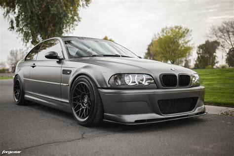 bmw e46 frozen grey bmw e46 m3 forgestar s18 wheels gloss black