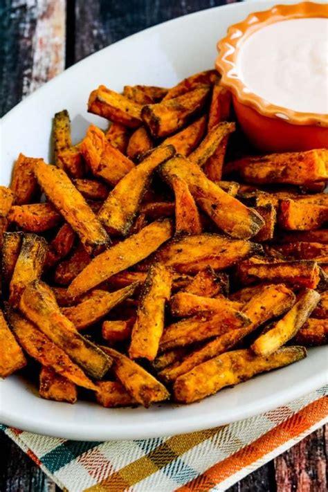 potato sweet fryer fries air recipes spicy vegan healthy french recipe kalyn nuwave fry oven kitchen kalynskitchen wedges sriracha crispy