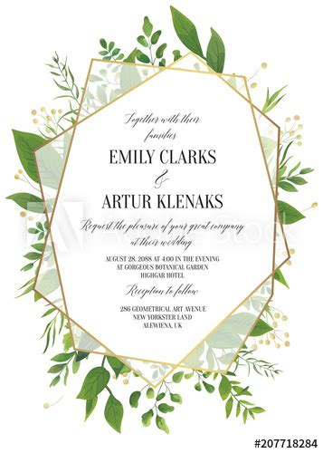 wedding invitation floral invite save  date modern