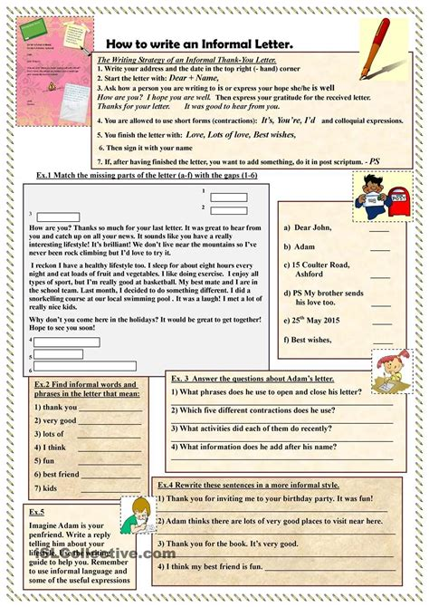 write  informal letter esl worksheets