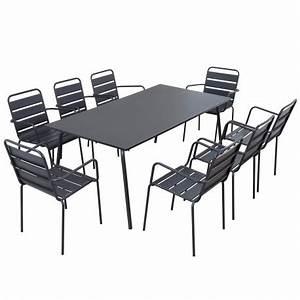 Table Pour Terrasse : table chaises grises m tal terrasse ~ Teatrodelosmanantiales.com Idées de Décoration