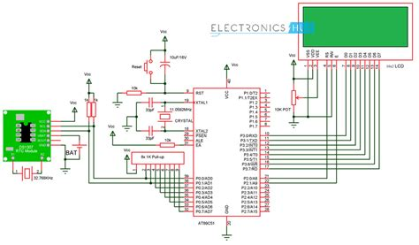 digital clock circuit using 8051 microcontroller and ds12c887