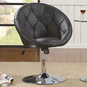 Adjustable, Button, Tufted, Back, Chrome, Base, Swivel, Chair
