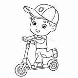 Scooter Coloring Boy Outline Cartoon Coloriage Livre Boys Activity Clipart Vectors Garcon Dessinees Bandes Coloration Enfants Plan Human Illustrations sketch template